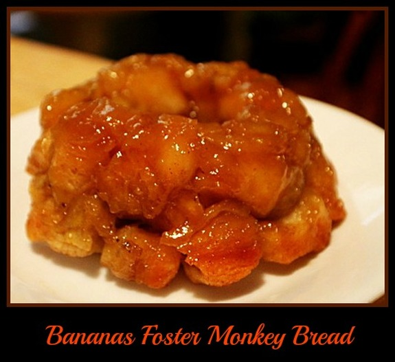 Bacon Cheese Pull Aparts In The Dutch Oven: Bananas Foster Monkey Bread