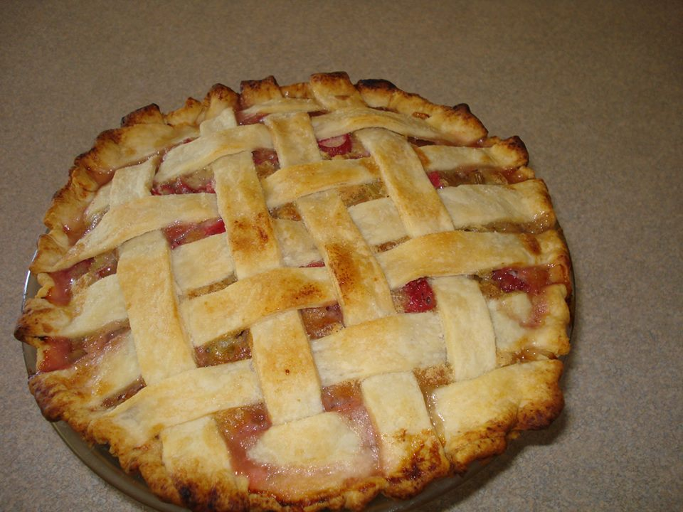 Lattice Rhubarb Custard Pie - Mom's Kitchen Pantry