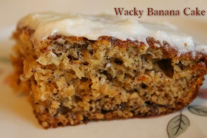 Wacky Banana Cake with Lemon Frosting