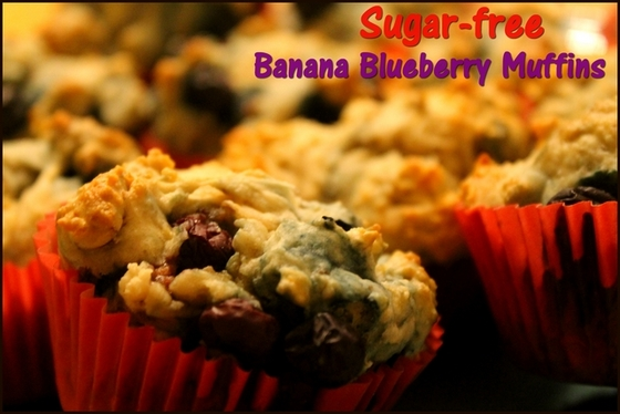 Sugar-free Banana Blueberry Muffins